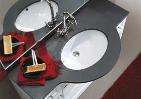 Top bagno in quarzo Quarella antracite