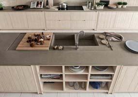 Top Cucina con lavello ribassato e scivolo Laminam Fokos Terra