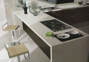 Top cucina in Laminam bianco assoluto
