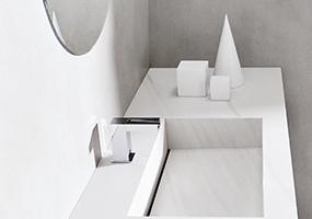 Top e lavello in laminam bianco lasa